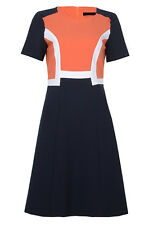 EX BRANDED MARKS AND SPENCERS CORAL ORANGE AND NAVY BLOCK DRESS