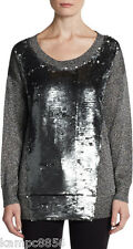 New French Connection Long Silver Grey Sequin Crystallised Knit Jumper Sz S M L