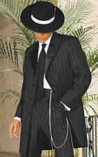 Men's - Pinstripe Zoot Suit Gangster Frock 3/4 Length Tuxedo Coat + Pant Package