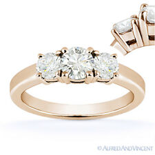 Round Cut Moissanite 14k Rose Gold 3 Three-Stone Basket Engagement Promise Ring