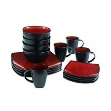 Square 16-Piece Dinnerware Set / Plates Dishes Bowls Cups Mugs / Service for 4