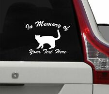 CAT KITTEN  IN MEMORY OF *YOUR TEXT* DECAL MEMORIAL STICKER PERSONALIZED