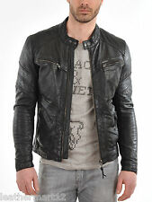 100% Genuine Lambskin Leather Designer Biker Jacket Blazer Men's - Black