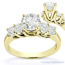 Round Cut Moissanite 14k Yellow Gold 5-Stone Trellis Cathedral Engagement Ring