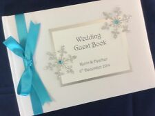 Glitter Snowflake & Diamante personalised wedding guest book *18 colours*