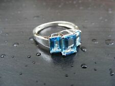 S178 Sterling Silver Contemporary 3 Stone Natural Blue Topaz Ring