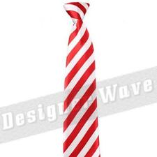 White Red Adult Kids Tie Skinny Stripe Satin School Fancy Dress Candy Xmas Theme