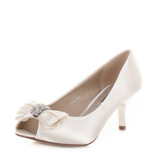 Ladies Mid Heel Diamante Peep Toe Ivory Satin Wedding Prom Bride Shoes Uk Size
