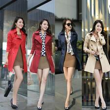 Chic Women's Lapel Double-breasted Belted Windbreaker Long Jacket Trench Coats