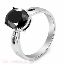 Stainless Steel Black Cubic Zirconia Cz Eternity Women's Ring Wedding Band