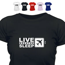 Airline Pilot Gift T Shirt Eat Live Breathe Sleep  Fly
