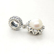 Everlasting Grace Pearl & Clear CZ Dangle Charm 925 Sterling silver Hanging Bead