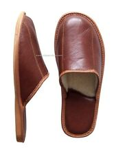 Men's Leather Slippers Shoes UK Brown Wool Sheepskin size 6.5 to 9 11 43 SALE!