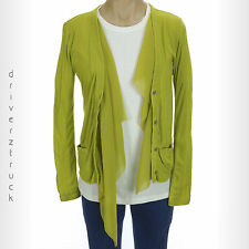 SIMPLY VERA WANG X-SMALL Golden Olive GREEN Cardigan SWEATER with CHIFFON TRIM