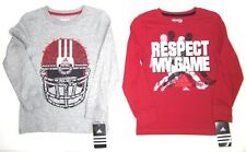 adidas Boys  Long Sleeve T-Shirts NWT Sz  2T,  4,  7 or  7X   Red or Gray Cotton