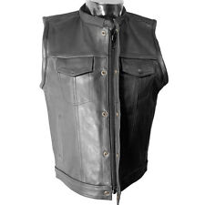 V320Z Mens Leather Motorcycle Club Vest with Snaps and Hidden Zipper
