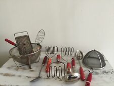 VINTAGE RED HANDLE KITCHEN UTENSILS + more  ~ each sold separate ~
