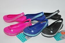 NWT CROCS GENNA II HEARTS GIRLS PINK BLACK BLUE 9 11 12 13 6 SLINGBACKS sandals