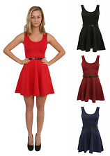 PILOT Womens Sleeveless Belted Flared Stretch Short Skater Party Day Dress