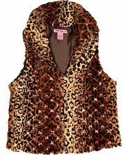 Betsey Johnson Faux Fur Wide Collar Vest in Brown Leopard Print-NWT-RP: $120