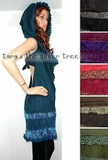 6 Colour HOODED Lace BACKLESS Midi DRESS Hippy PIXIE Steampunk LADIES UK 8 -16