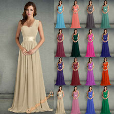 One Shoulder Chiffon Bridesmaids Dress Long Wedding Gown Evening Prom Size 6-26