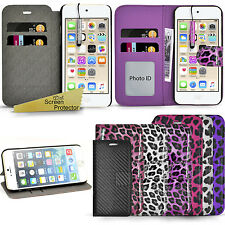 For Apple IPhone 4 4S / 5 5S 5E / 6 6S Glossy Leopard Wallet Case Cover + Guard