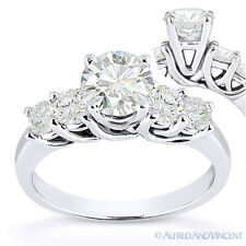 Round Cut Forever Brilliant Moissanite 5-Stone Engagement Ring in 14k White Gold