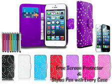 New Diamond Leather Pu Wallet Sparkle Gem Bling Case Cover For Apple iPhone 5C