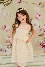 GIRLS LACE DRESS CHAMPAGNE AND IVORY FOR WEDDINGS FLOWER GIRLS PARTIES