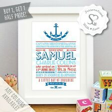 Personalised Nautical New Baby/Birth/Christening Print Framed Picture Gift