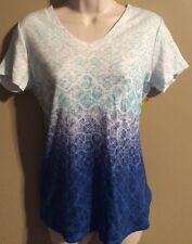 "Women's ""Made For Life"" Activewear top  shirt White/Blue  NWT Size S"