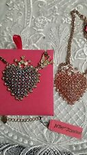 BETSEY JOHNSON CHOICE PINK  OR BLUE CRYSTAL HEART  NECKLACE PRINCESS CROWN