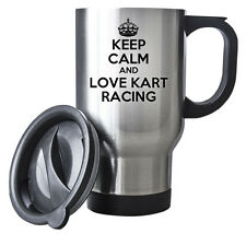 KEEP CALM and Love Kart Racing Travel Mug - Coffee Cup Gift Idea sport