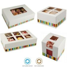 Cupcake Boxes For 1, 4, 6, 12 Cakes - Muffin Cake Box Holder / Fairy Cakes
