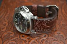 MA WATCH STRAP 24 MM AUTHENTIC OSTRICH LEG LEATHER BAND HANDMADE OSTRICH - CORAL