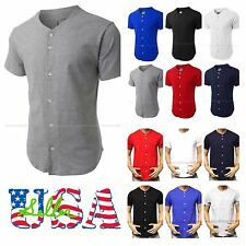 Baseball Jersey T-Shirts Plain Blank Solid Color Practice Sports Tee Button Down