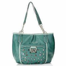 Kathy Van Zeeland Chain Detailed Double Handle Studded Shopper NWT Retail $129