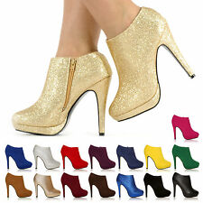 WOMENS PLATFORM HIGH HEEL STILETTO ANKLE SHOES BOOTS BOOTIES, FAST UK DELIVERY