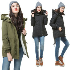 Womens Zip Hooded Parka Thick Fleece Warm Winter Coat Overcoat Lady Long Jacket