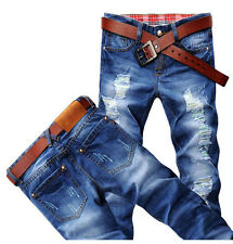 Hot Classic Men Stylish Designed Straight Slim Fit Trousers Casual Jeans Pants Q