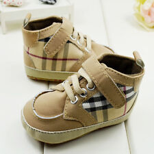 Infant Toddler Baby Boy Brown plaid Soft Sole Crib Shoes Size 0-18 Months