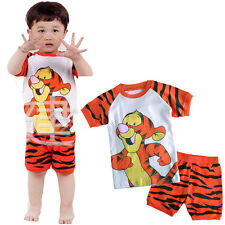 2Pcs Tigger Baby Kids Toddler Top+Pants Shorts Sleepwear Pajama Pyjams Set Boys