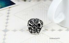 Large Heavy Biker Gothic Skull Rose Stainless Steel Ring Mens Band Size 8-12