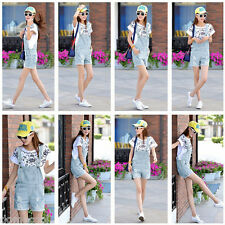 Women's Washed Jeans Denim Torn Jeans Straps Shorts Lady Overall Romper Jumpsuit