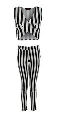 NEW LADIES BLACK AND WHITE THICK STRIPE WOMENS TROUSERS AND CROP TOP 8 10 12 14