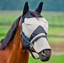 HORZE FULL FACE FLY MASK BONNET WITH EARS AND FULL NOSE  70% UV PROTECTION