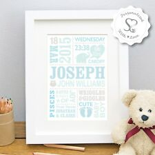 Personalised New Baby Cute Elephant/Birth/Christening Print Framed Picture Gift