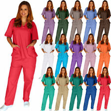 Women's Solid Scrub Top and Pant Medical Nursing Uniform