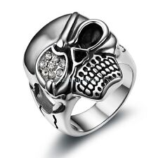 Large Biker Gothic Skull Rhinestone Stainless Steel Ring Mens Band Size 9-12